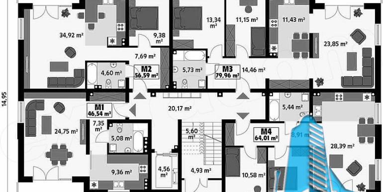 Bloc de locuit cu parter si patru etaje parter