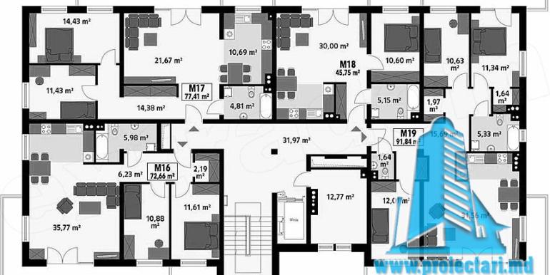 Proiect bloc de locuit de tip hotelier etaj 2