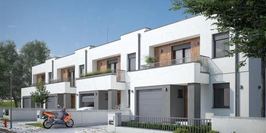Proiect de casa townhouse de tip blocat (duplex sau tronson) cu garaj pentru un automobil – 100934