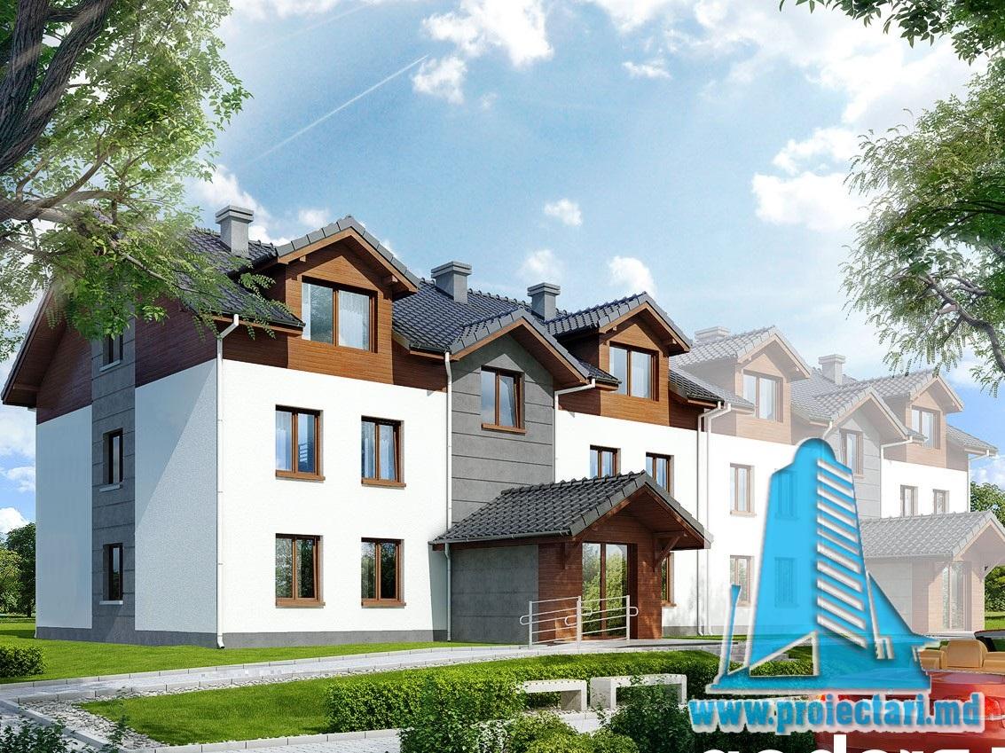 Проект трехэтажного дома townhouse (duplex) -100936