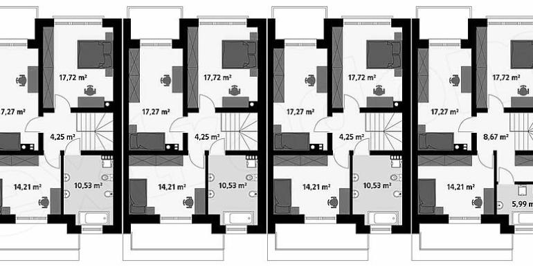 proiect casa townhouse duplex plan etaj