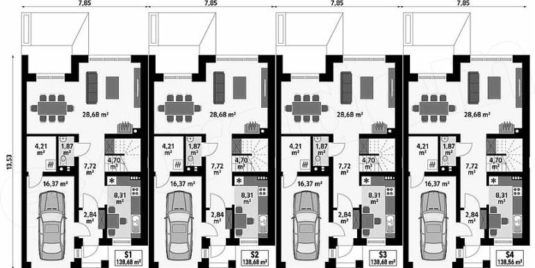 proiect casa townhouse duplex plan parter