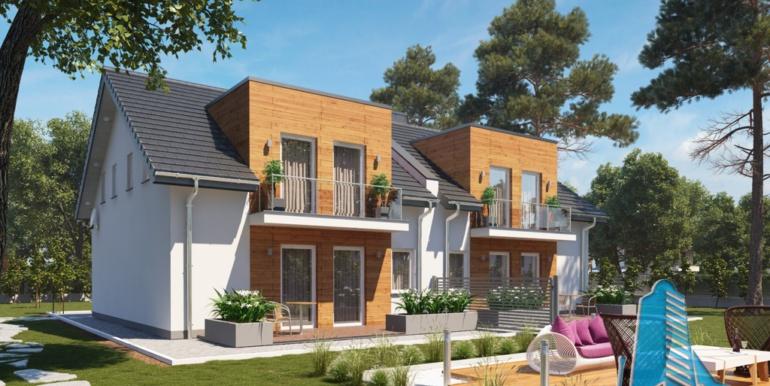 proiect de casa duplex cu parter mansarda si garaj pentru doua automobile cu terasa de vara