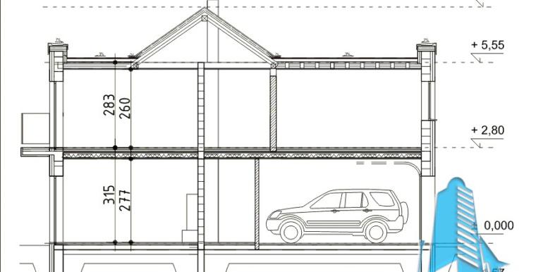 proiect de casa duplex cu parter mansarda si garaj pentru doua automobile cu terasa de vara sectiune