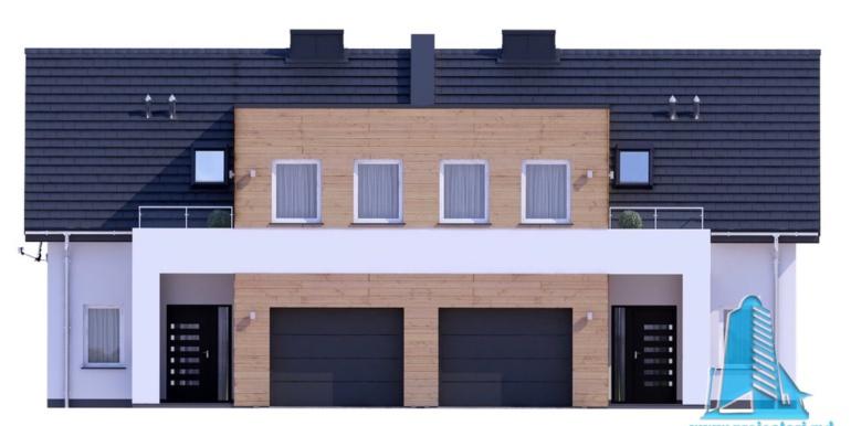 proiect de casa duplex cu parter mansarda si garaj pentru doua automobile cu terasa de varaa