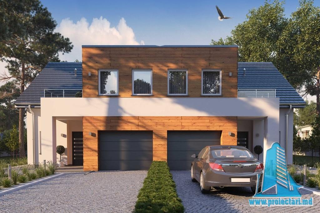 Proiect de casa duplex cu demisol, parter, etaj terasa de vara si garaj pentru un automobil – 100940