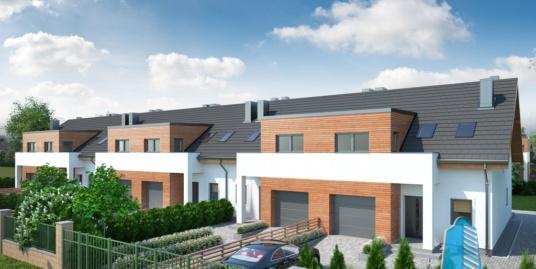 Proiect de casa townhouse cu parter, mansarda si garaj pentru un automobil – 100941