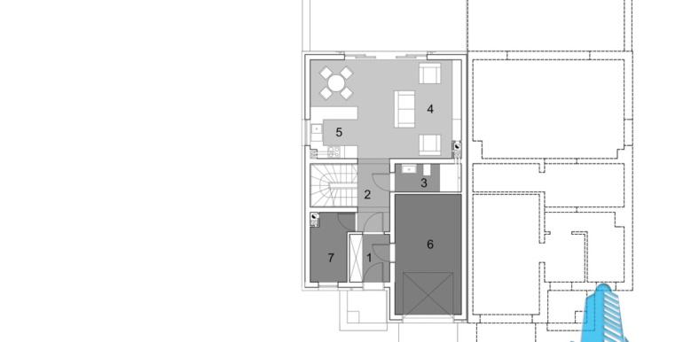 proiect de casa duplex townhouse cu garaj si terasa de vara plan
