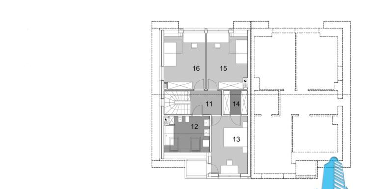 proiect de casa duplex townhouse cu garaj si terasa de vara plan etaj