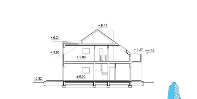 proiect de casa duplex townhouse cu garaj si terasa de vara sectiune