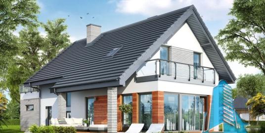 Proiect de casa cu mansarda joasa si garaj pentru doua automobile – 100943