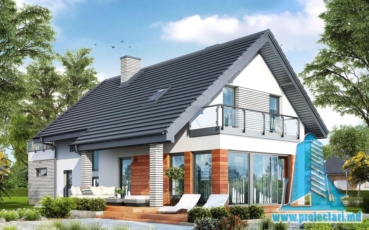 Проект дома c гаражом для 2 автомобиля, партером, мансардой и летней террасой – 100943