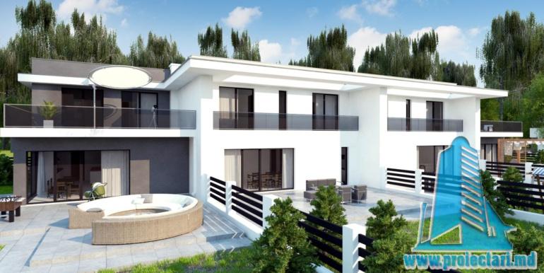 Casa de locuit de tip duplex cu acoperis plat si garaj pentru doua automobile chisinau moldova 1