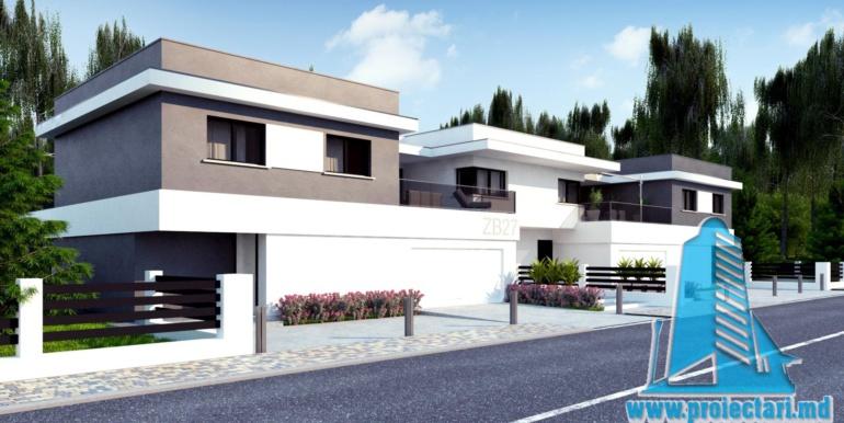 Casa de locuit de tip duplex cu acoperis plat si garaj pentru doua automobile chisinau moldova