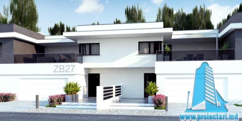 Casa de locuit de tip duplex cu acoperis plat si garaj pentru doua automobile chisinau moldova amenajare terasa spate