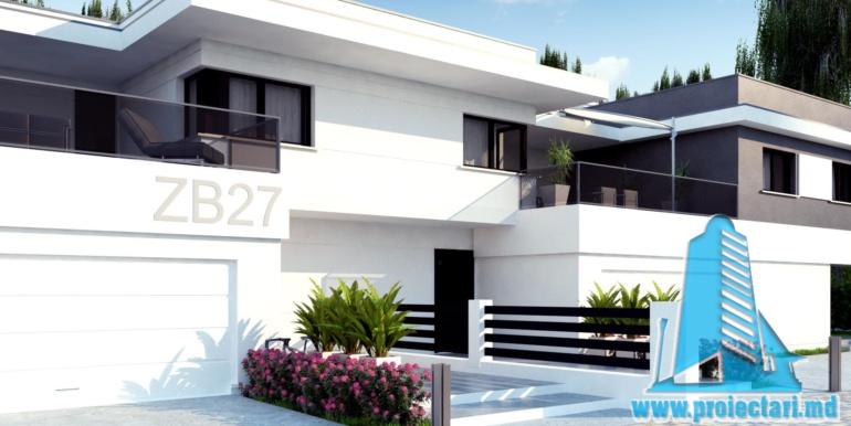 Casa de locuit de tip duplex cu acoperis plat si garaj pentru doua automobile chisinau moldova intrarea casei