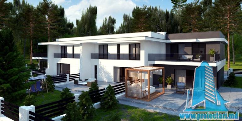 Casa de locuit de tip duplex cu acoperis plat si garaj pentru doua automobile chisinau moldova terasa casei