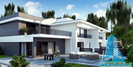 Proiect de casa de tip duplex cu doua etaje, garaj pentru doua automobile, terasa de vara la sol si pe acoperis – 100957