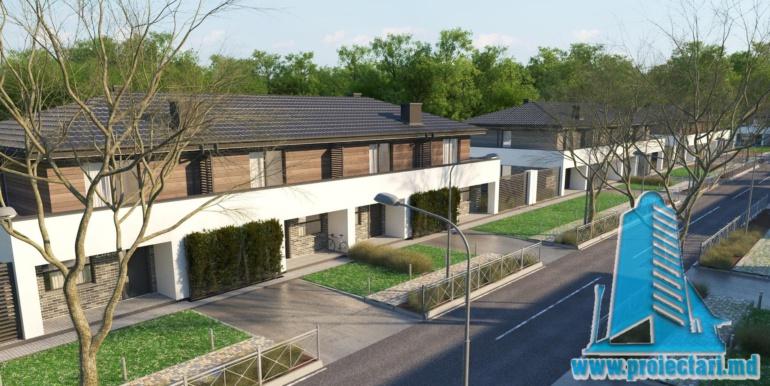 Casa de locuit townhouse de tip blocata duplex cu parter si mansarda cu garaj si terasa amenajata moldova chisinau