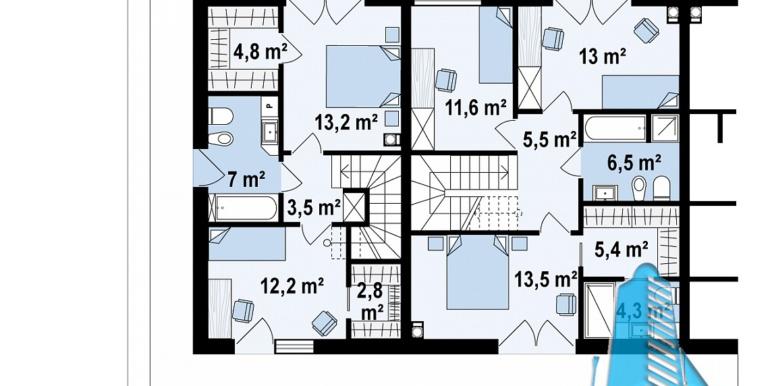 Casa de locuit townhouse de tip blocata duplex cu parter si mansarda cu garaj si terasa amenajata moldova chisinau plan etaj