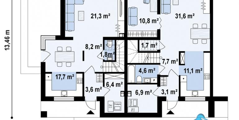 Casa de locuit townhouse de tip blocata duplex cu parter si mansarda cu garaj si terasa amenajata moldova chisinau plan parter