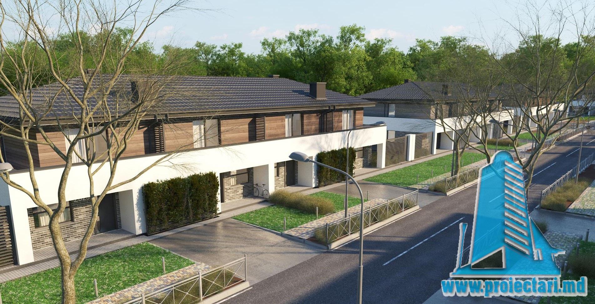Proiect de casa Townhouse cu doua etaje, garaj si terasa de vara amenajata – 100956