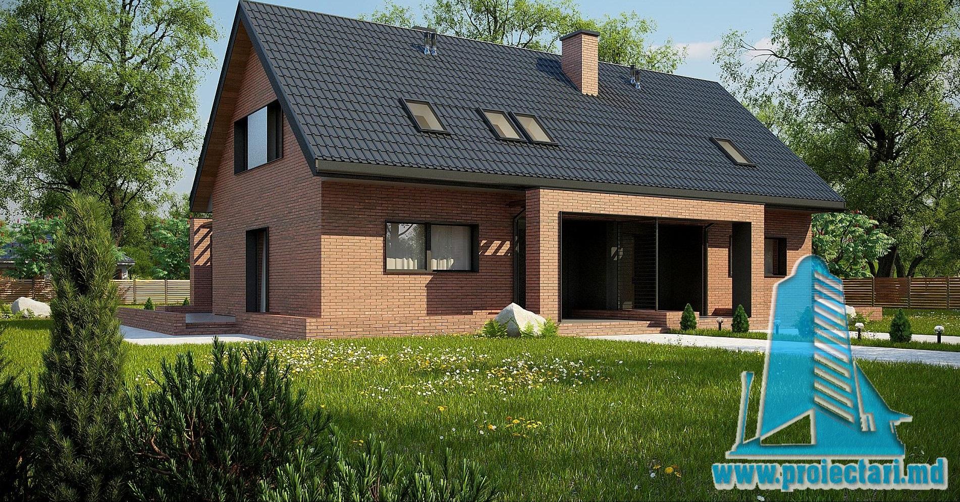 Проект дома c  партером, мансардой и летней террасой из кирпича – 100955