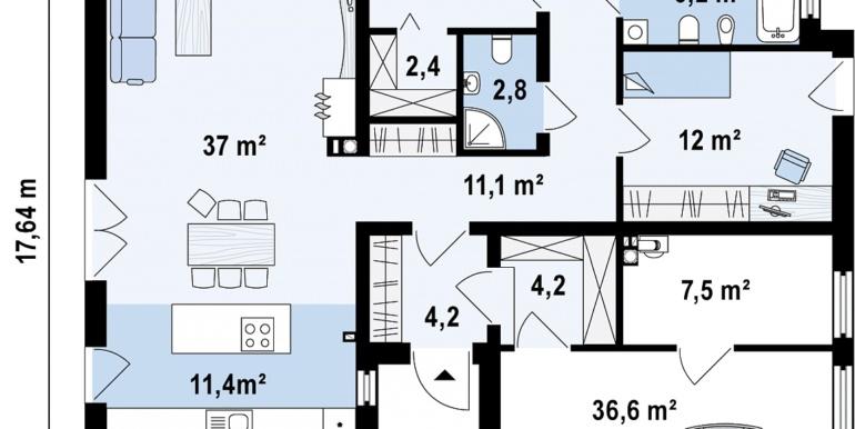 Plan parter proiect de casa cu parter si bazin