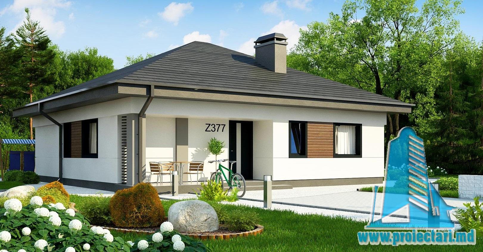 Proiect de casa cu un etaj si terasa de vara exterioara-100948