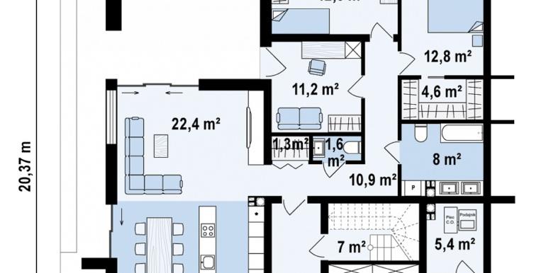 Proiect de casa cu acoperis plat cu tearsa de vara acoperis amenajat si pgaraj pentru doua automobile de tip duplex plan parter