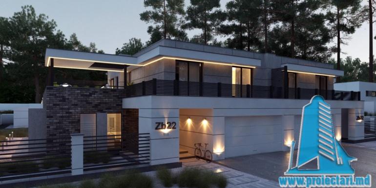 Proiect de casa cu acoperis plat cu tearsa de vara acoperis amenajat si pgaraj pentru doua automobile intrarea in casa