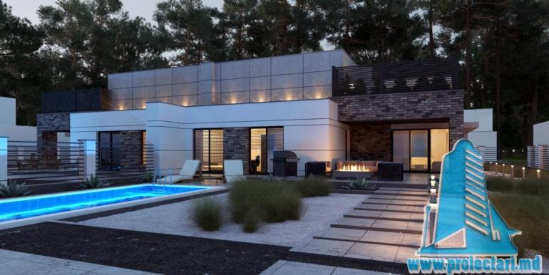 Proiect de casa cu acoperis plat cu tearsa de vara acoperis amenajat si pgaraj pentru doua automobile terasa de vara cu bazin