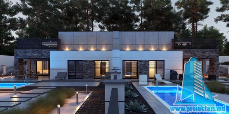 Proiect de casa cu acoperis plat cu tearsa de vara acoperis amenajat si pgaraj pentru doua automobile terasa de vara cu bazin si pietonal