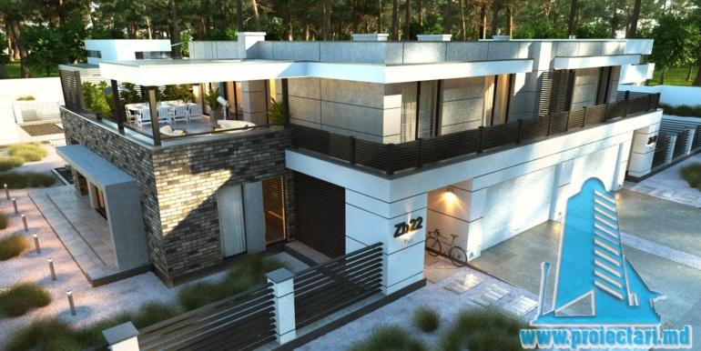 Proiect de casa cu acoperis plat cu tearsa de vara acoperis amenajat si pgaraj pentru doua automobile vedere generala