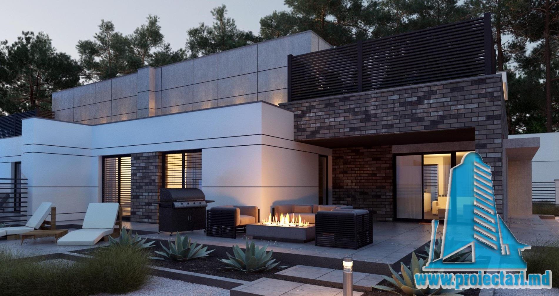 Proiect de casa cu doua etaje de tip Duplex cu garaj pentru doua automobile cu terasa de vara la sol si pe acoperis-100958