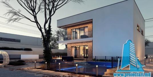 Proiect de casa cu doua etaje, acoperis plat, garaj pentru un automobil si terasa de vara amenajata – 100952