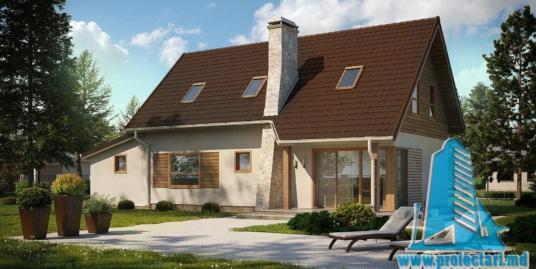 Proiect de casa cu parter si mansarda cu terasa de vara si garaj pentru un automobil – 100951
