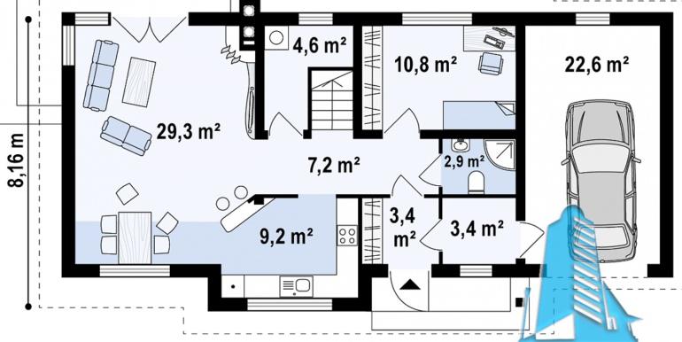 Proiect de casa cu mansarda moldova plan parter