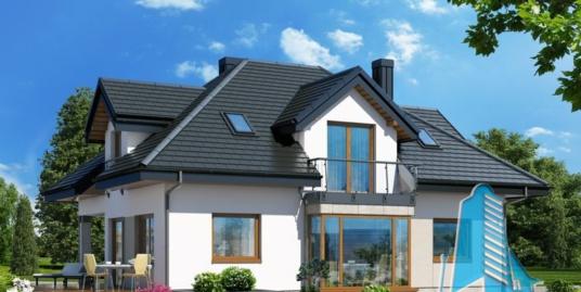Proiect de casa cu parter, mansarda si garaj pentru un automobil-100942