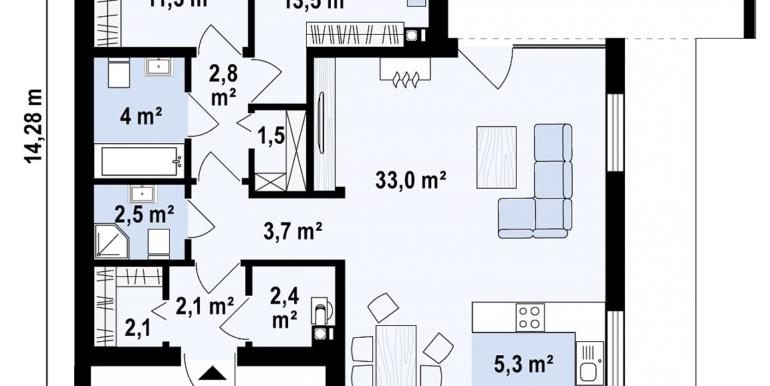 Proiect de casa cu parter acoperis plat si terasa amenajata moldova chisinau Plan parter