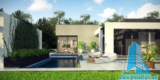 Proiect de casa cu acoperis plat, cu parter si bazin – 100950