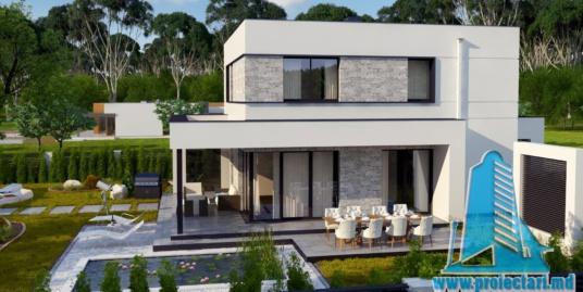 Proiect de casa cu doua etaje,acoperis plat si terasa de vara amenajata la sol -100960