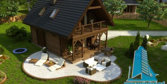 Proiect de casa ieftina de lemn dupa tehnologie canadiana cu parter si mansarda – 100961