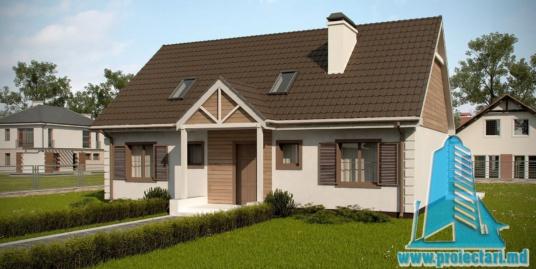 Proiect de casa mica cu parter si mansarda- 100954