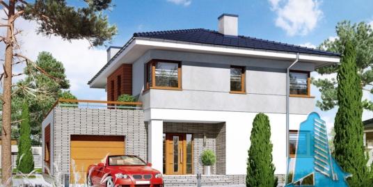 Proiect de casa cu doua etaje si garaj pentru un automobil-100944