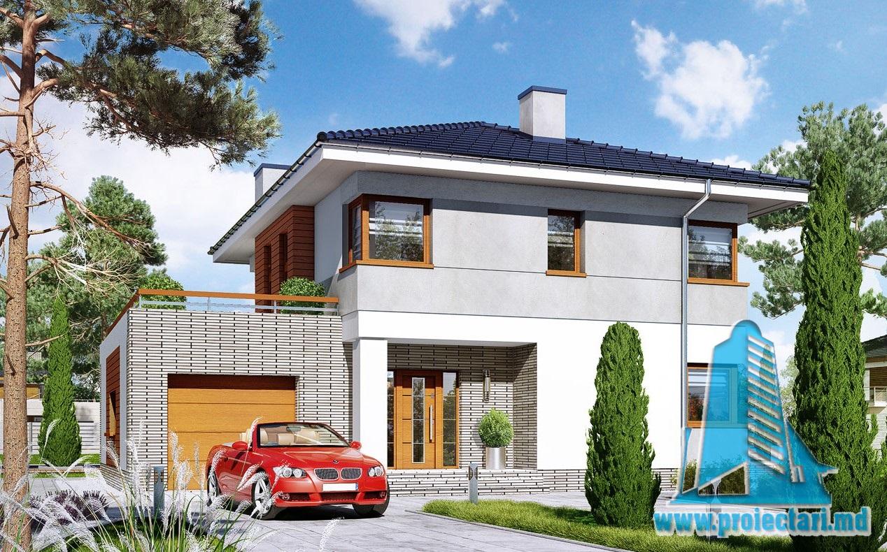 Проект двухэтажного дома c гаражом и летней террасой-100944