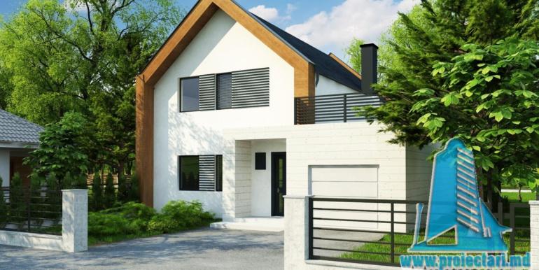 proiect de casa cu parter si mansarda cu decoruri din lemn 1