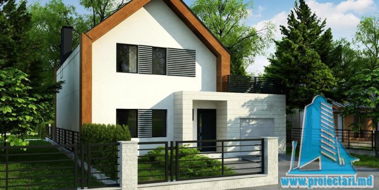 proiect de casa cu parter si mansarda cu decoruri din lemn