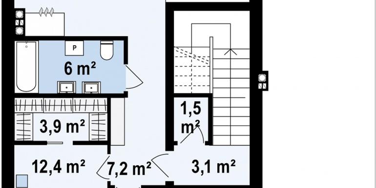 proiect de casa cu parter si mansarda cu decoruri din lemn plan mansarda