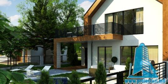 Proiect de casa cu parter, mansarda, garaj si terasa de vara frumos amenajata – 100947